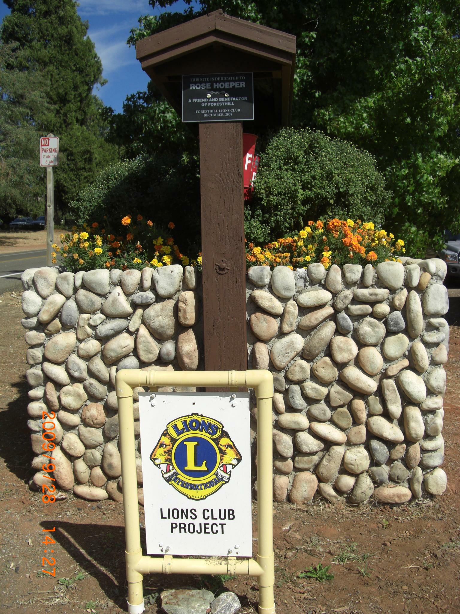 Lions Fire Brigade Flower Box Sign