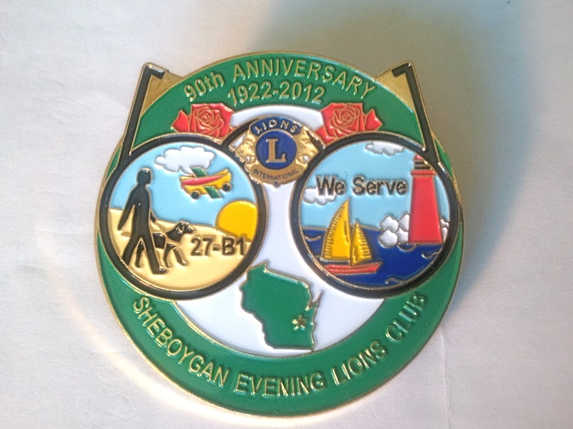 Sheboygan Evening Lions 90th Anniversary Pin