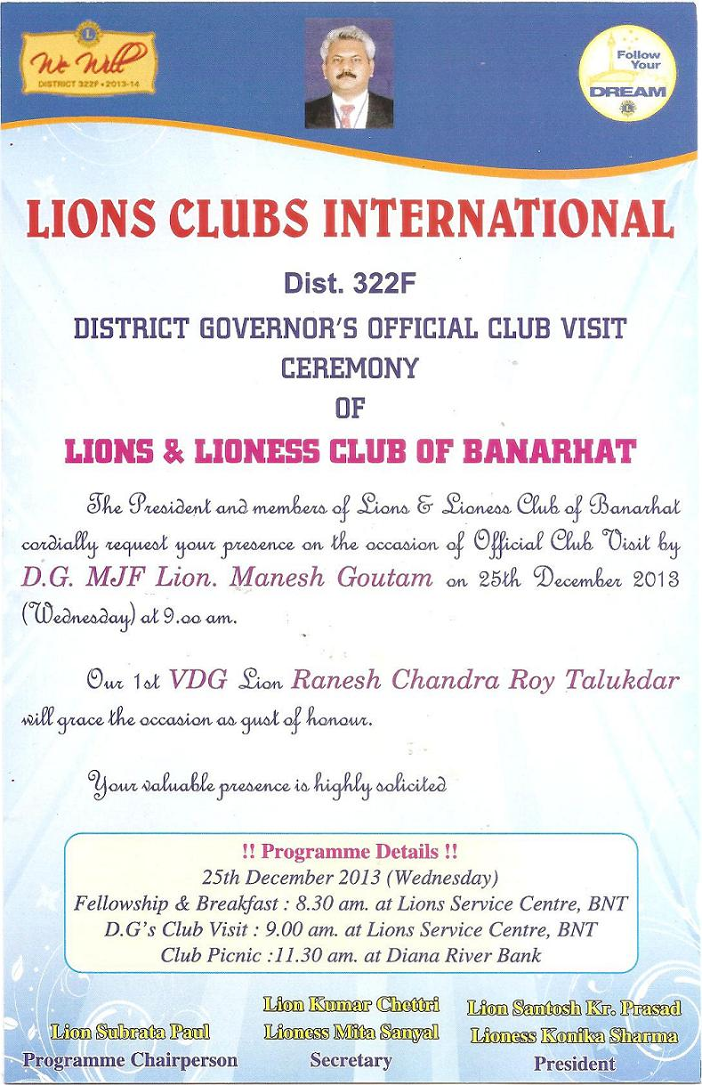 INVITATION TO DG VISIT