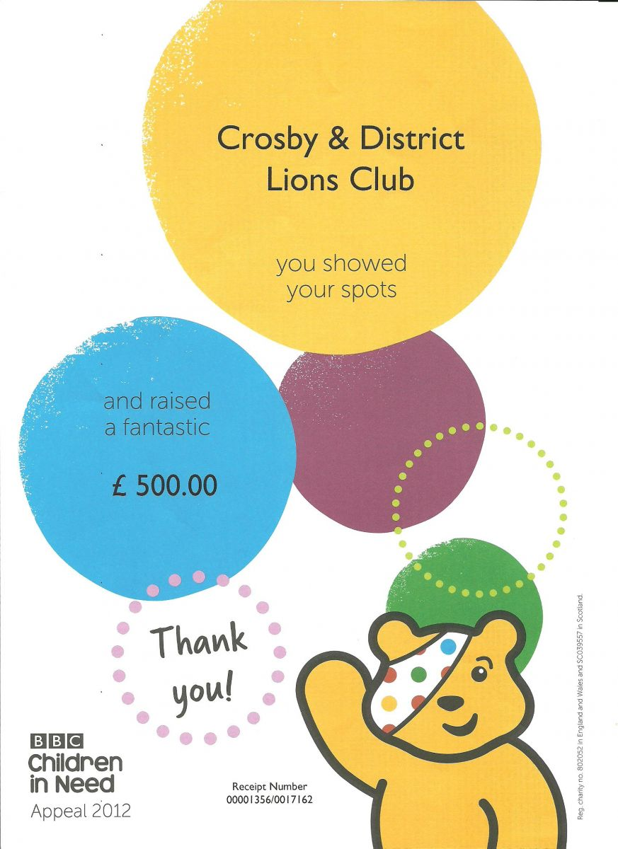 £500 was raised by Crosby & District Lions for Children in Need through their Book Stall and Mile of Coins