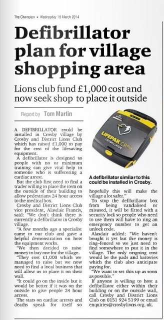 Crosby Lions are trying to find a suitable site for a defibrillator within Crosby Village