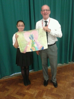 Lion Mike Andrews with 2013 Peace Poster Contest Winner Anya Smith