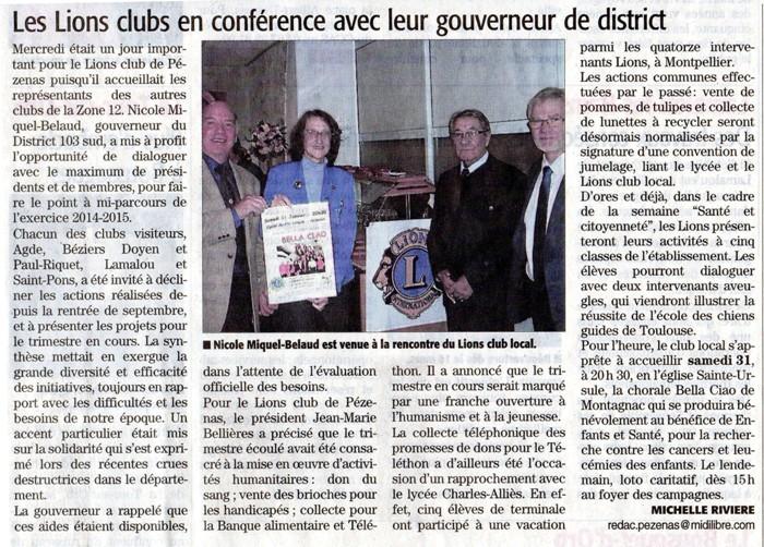 Midi Libre le 26 janvier 2015