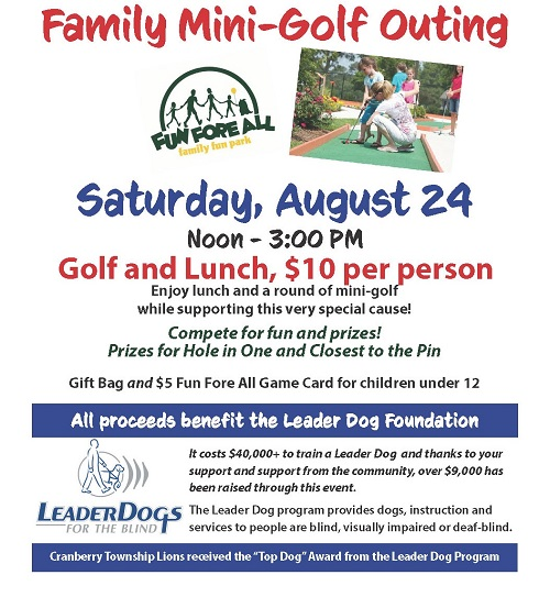 August 24 2019 family mini golf outing