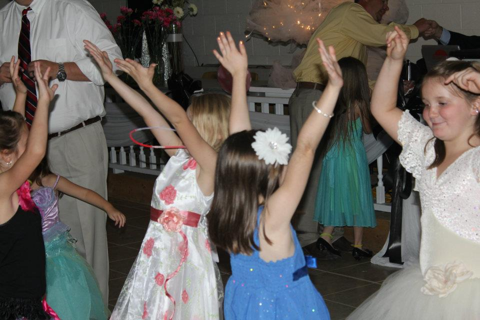 Gals dance together at the Woodbury Lions Club Daddy Daughter Princess Ball.