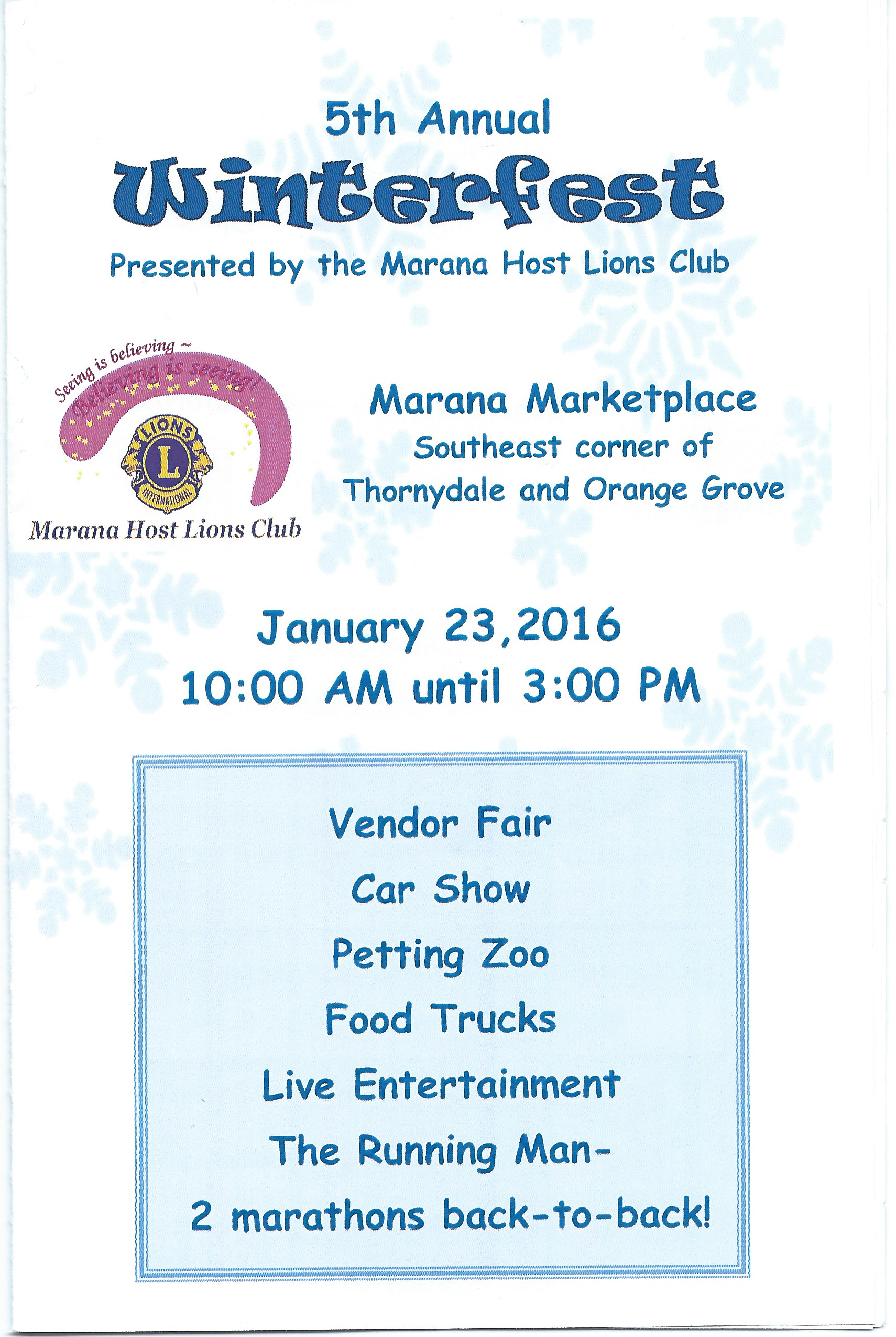 Marana Lions will raise $20,000 for the Foodbank at Winterfest