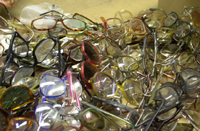Pile of used eyeglasses