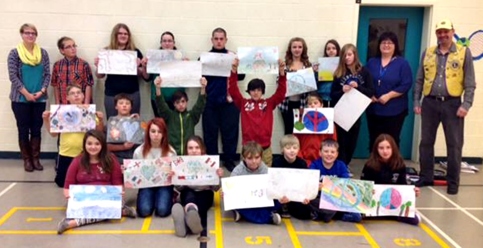 The particpants of the Peace Poster Contest sponsered by the Buchans Lions Club at Lakeside Academy, Buchans, NL