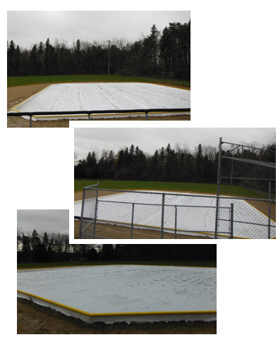Belwood Lions Ice Skating rink gets erected for the 2016 season. Enlarged this year to 65x75ft with a plastic sheet base to reduce melting....All we need now is cold weather, ice and skaters...bring on winter smile emoticon:). Thanks to all the Lions helping to make the boards, posts and do the building.