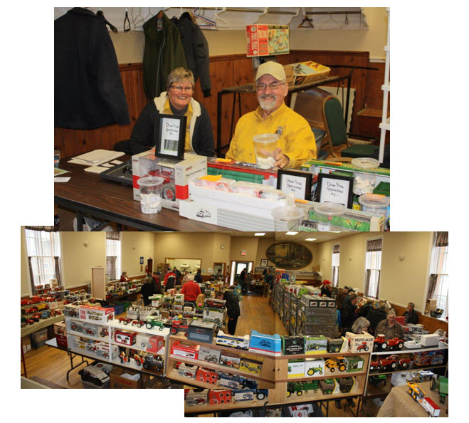 Lions Terry and Shon greet the many attendess to Belowood Lions First Anual Toy Show and Sale. Many vendors from across Southern Ontario came to display their varied selection of die cast collectables at Belwood Hall on Dec 5th 2015