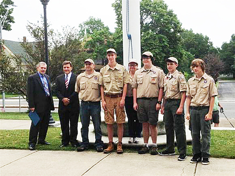 Ted Silva, Selectman Espindola, and Fairhaven Boy Scouts