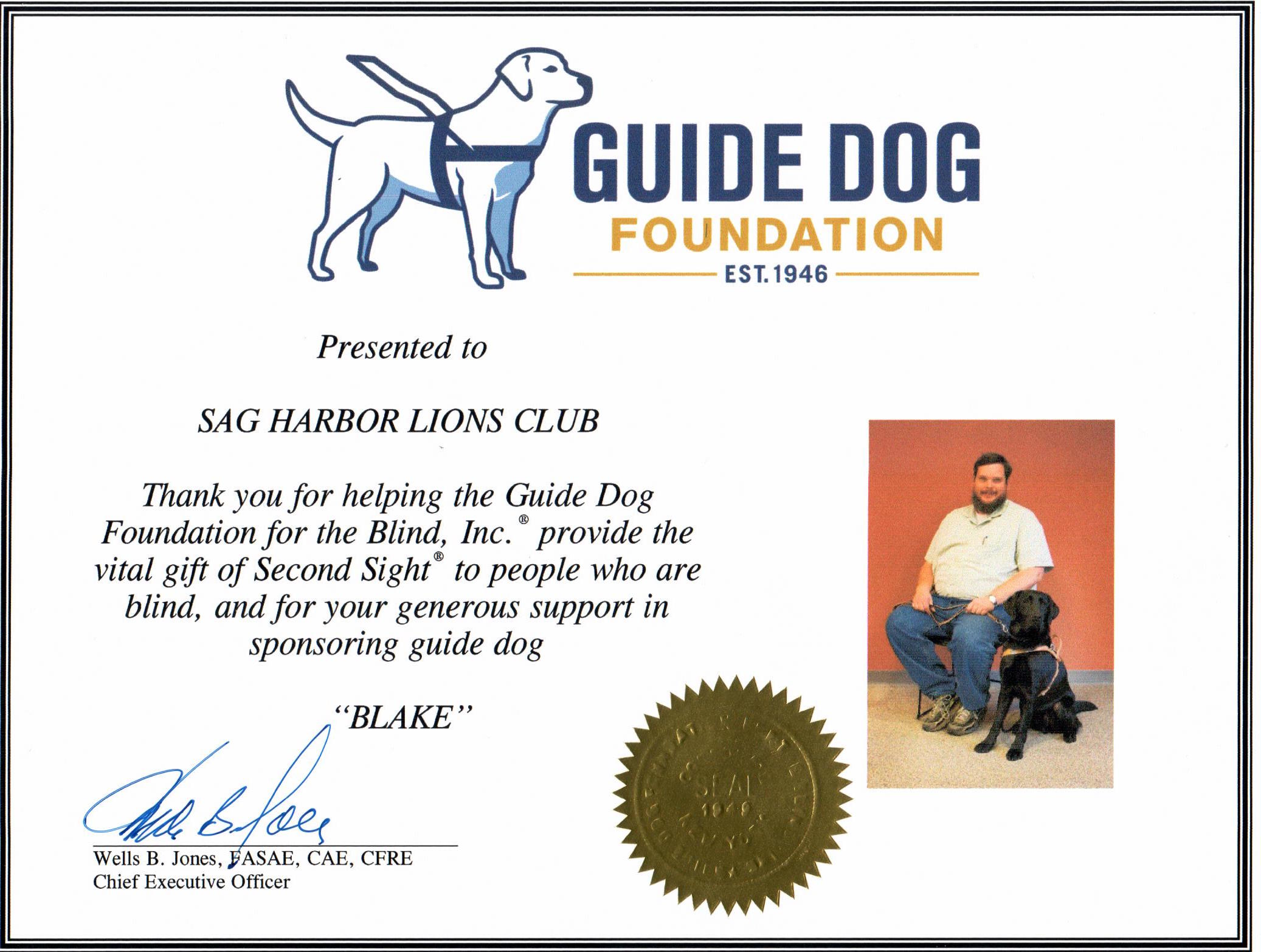 Blake, the 2015 Guide Dog