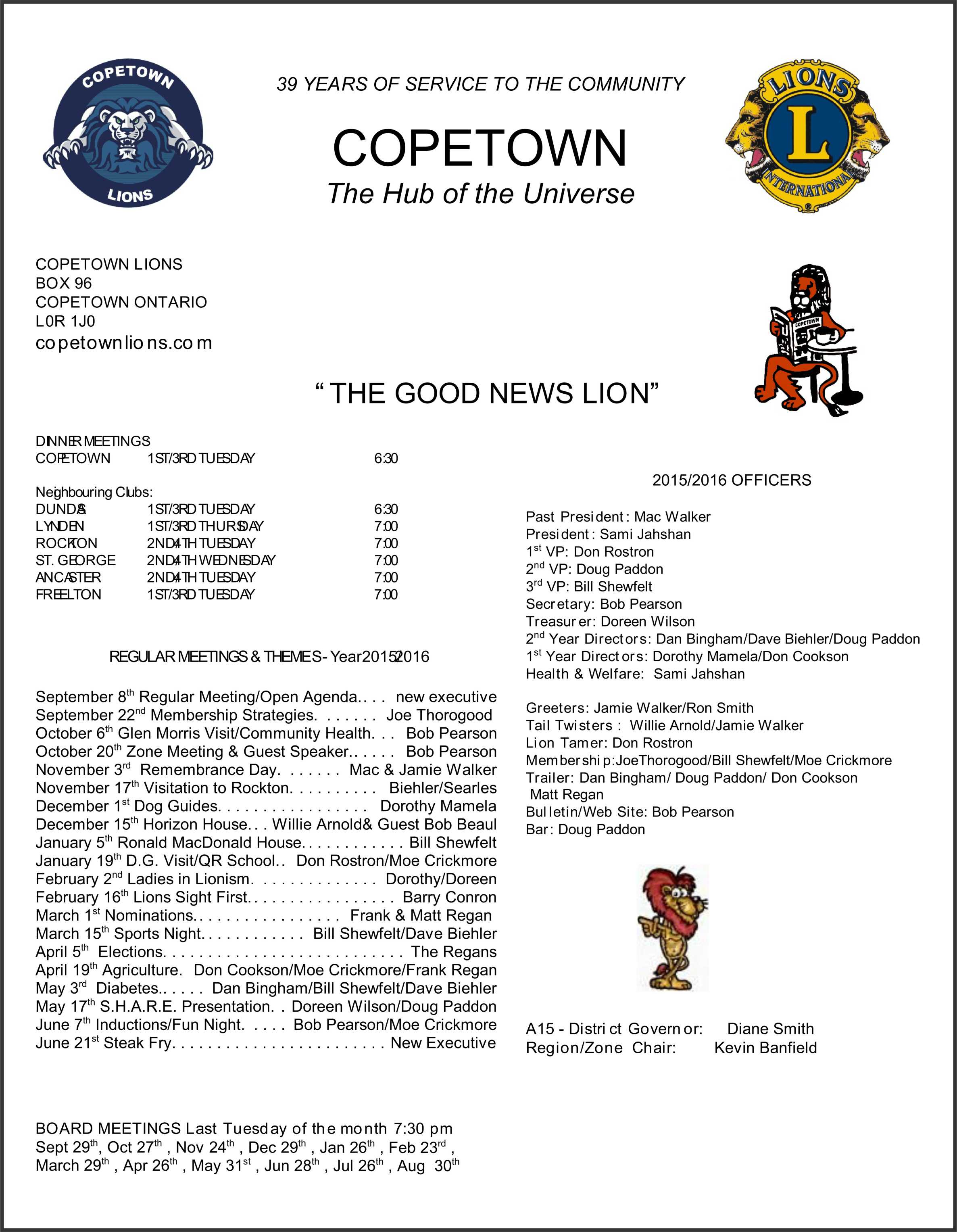 Copetown Lions Bulletin Cover