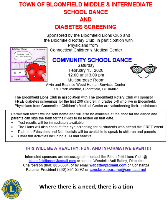 Town of Bloomfield School Dance and Diabetes Screening
