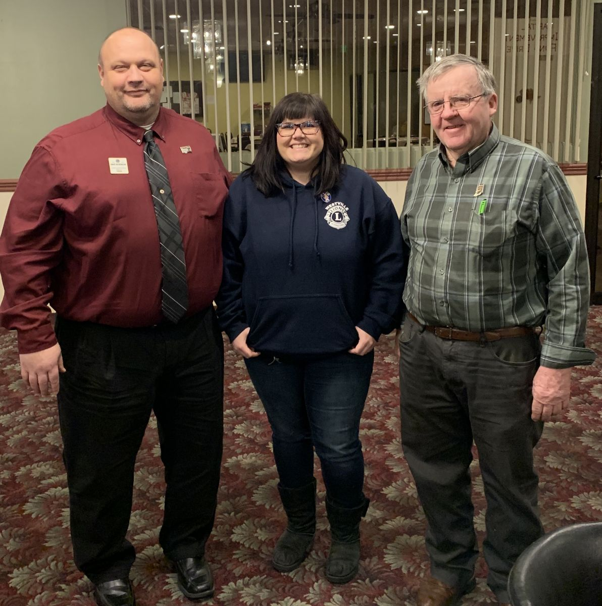 2nd VDG Dave Dickinson, President Whitney Martin, and Lion Butch Weston at 2020 Cabinet Meeting.