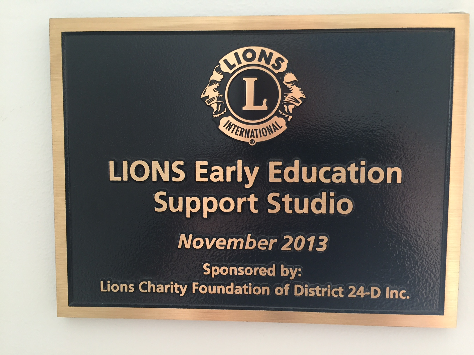 Barrier Island Center, Lions Charity Foundation Plaque