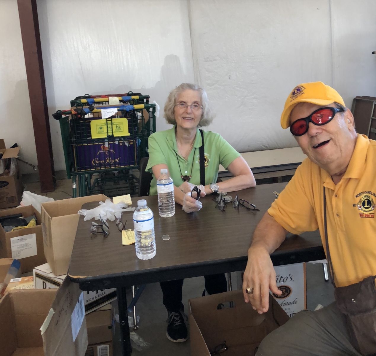 North Raleigh Lions Dale & Bill Graham working at the 2018 Camp Dogwood Eyeglasses Work Days
