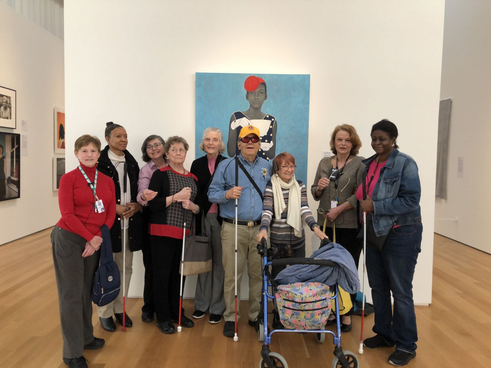 Docent Tour Group at NC Museum of Art L/R:  Elizabeth Kahn, Jo Anne King, Beth McGuire, Susan McKay, Lion Dale Graham, Lion Bill Graham, Diana Cook, Donna King & Lion Karyn Hampton