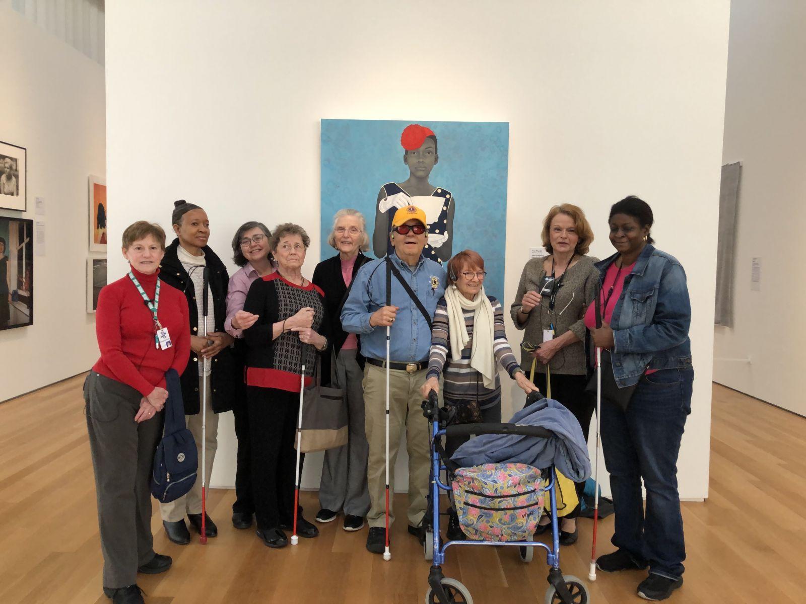 Docent Tour Group at NC Museum of Art L/R:  Elizabeth Kahn, Jo Anne King, Beth McGuire, Susan McKay, Lion Dale Graham, Lion Bill Graham, Diana Cook, Donna King & Lion Karyn Hampton