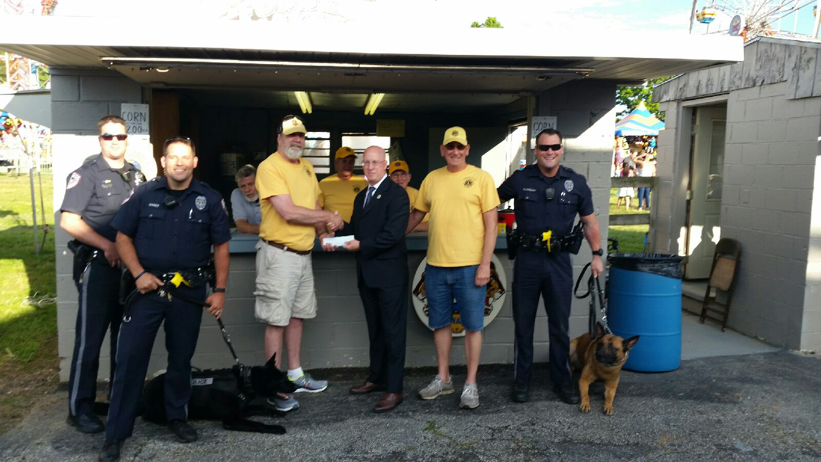 On June 8 th, 2017, Audubon Oaks Lions Club presents check to the Lower Providence Township Police K 9 Unit at the LP Firemen fair. Pictured are Officer Hubert, Officer Bonner with his K9 partner Brutus, Lion Paul Chantry, Chief Stanley Turtle, Lion Dan Hummel, Officer McCreary with K9 partner Kane. Back row Lions G Smith, P LeBoutillier, C Pate.