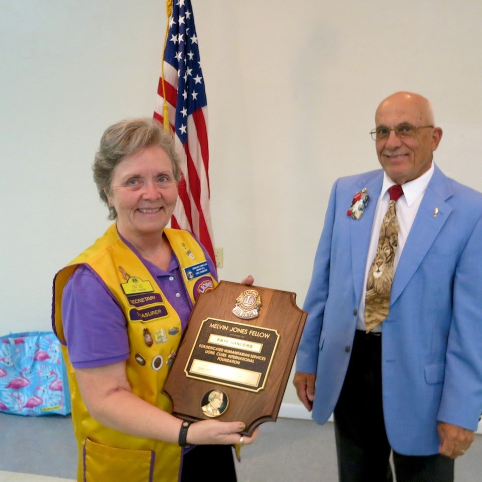 Lion Faye Sanders Accepts Melvin Jones Fellow Recognition