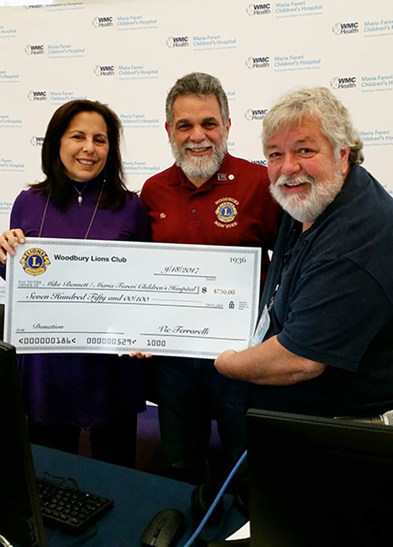 A HUGE Thank You to Vic Ferrarelli and the #WoodburyLionsClub for the generous donation of $750.00! They sent out a donation challenge to other HV Lion's Clubs to donate as well! Who's next?! Maria Fareri Children's Hospital, a member of the WMCHealth Network #Radiothon Call 1-888-499-5437 #WHUDRadiothon #MAriaFareriChildrensHospital #DonateNow  Representing the Woodbury Lions Club as we made a $750 donation to the Maria Fareri Children's Hospital for WHUD's annual radiothon. Kacey wore purple in honor of Monroe – Woodbury.