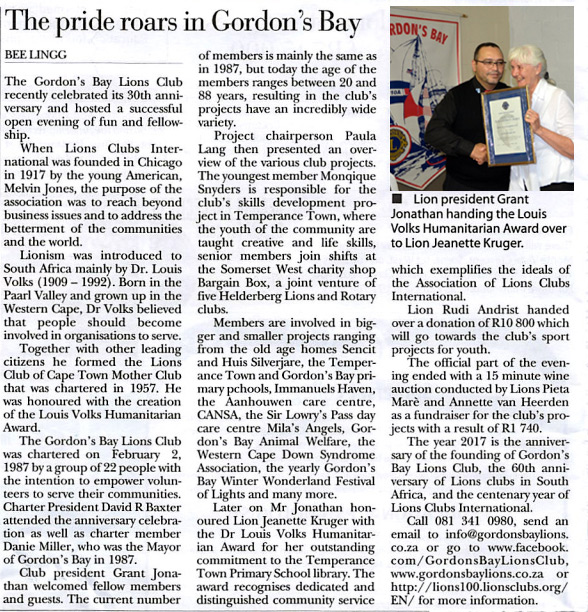 Article Bolander Magazine - Gordons Bay Lions Club celebrating 30 anniversary in February 2017