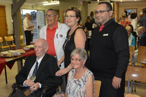 Lions Vic Bisogno, Lion Past President Paula Lang, Lion President Grant Jonathan, Lion Charter Member Dave Baxter and his wife Ann