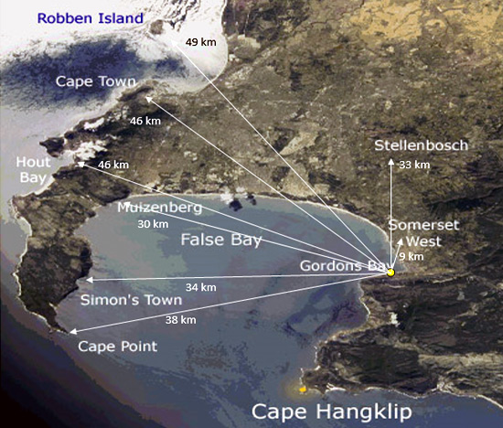 The Direction Finder coverage over False Bay