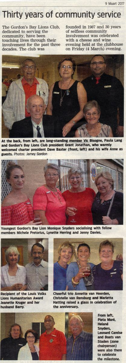 Article DIstrict Mail - Gordons Bay Lions Club celebrating 30 anniversary in February 2017