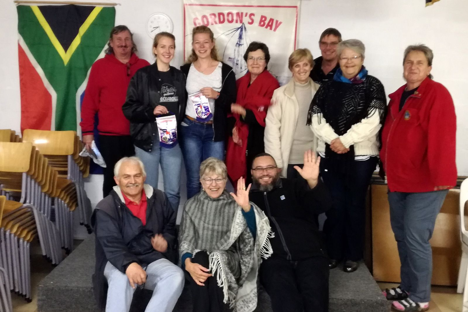 Members of the Gordon's Bay Lions Club with Exchange Students from Europe