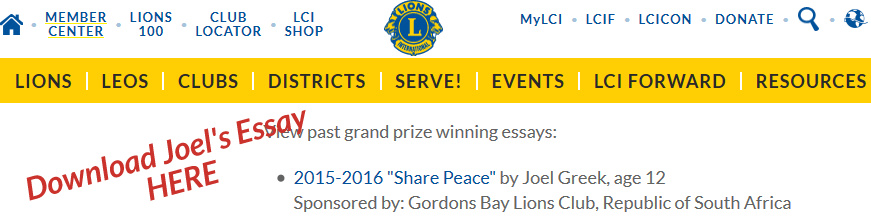 Gordns Bay Lions Club sponsores winner of international Peace Essay competition