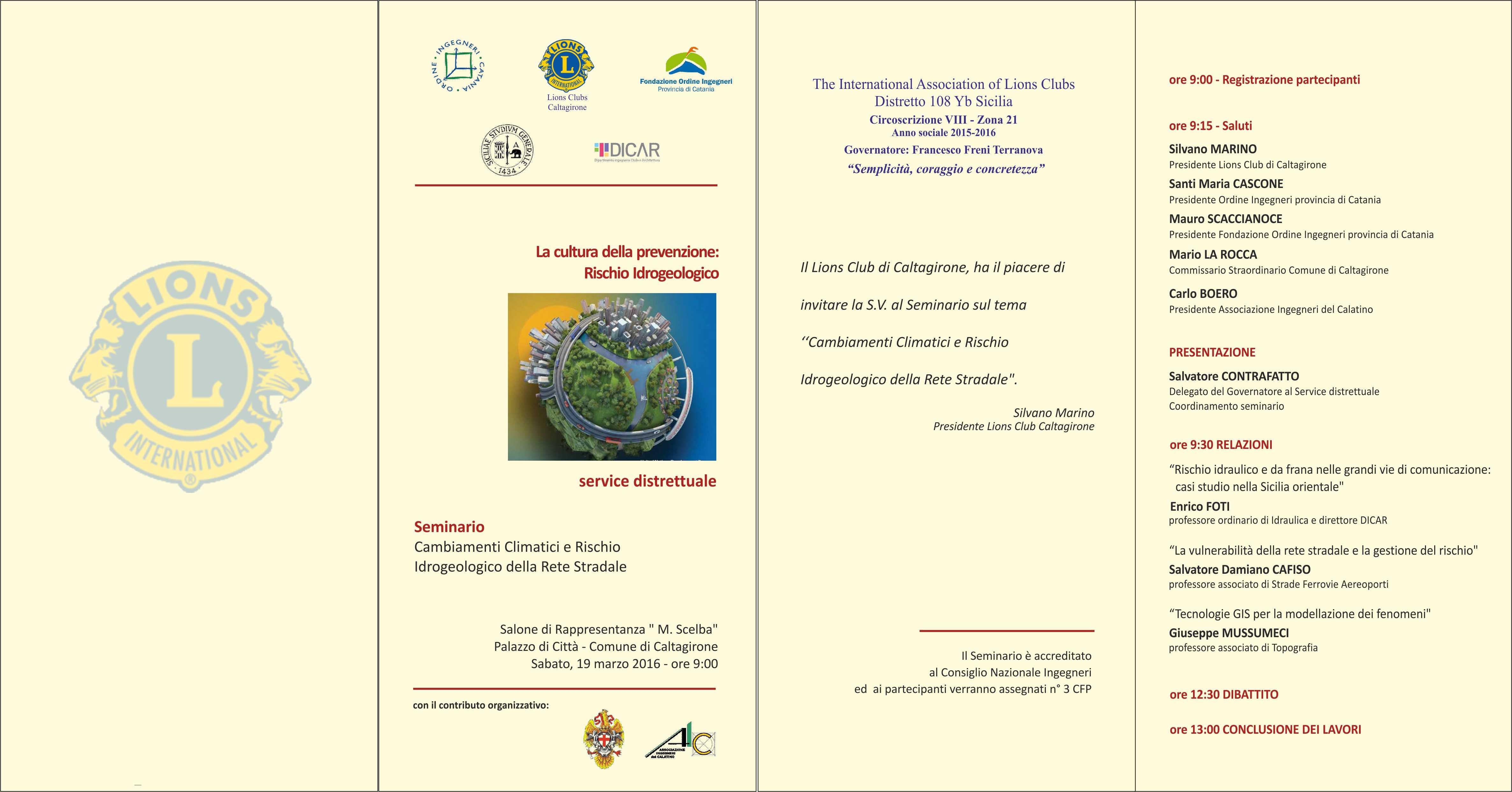 Service Distrettuale sul tema: Cambiamenti climatici e e rischio idrogeologico della rete stradale