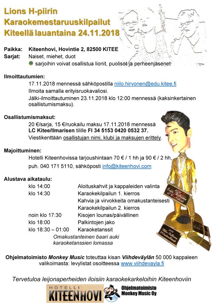 Lions H-piirin Karaokemestaruuskilpailut la 24.11.208 Kiteellä