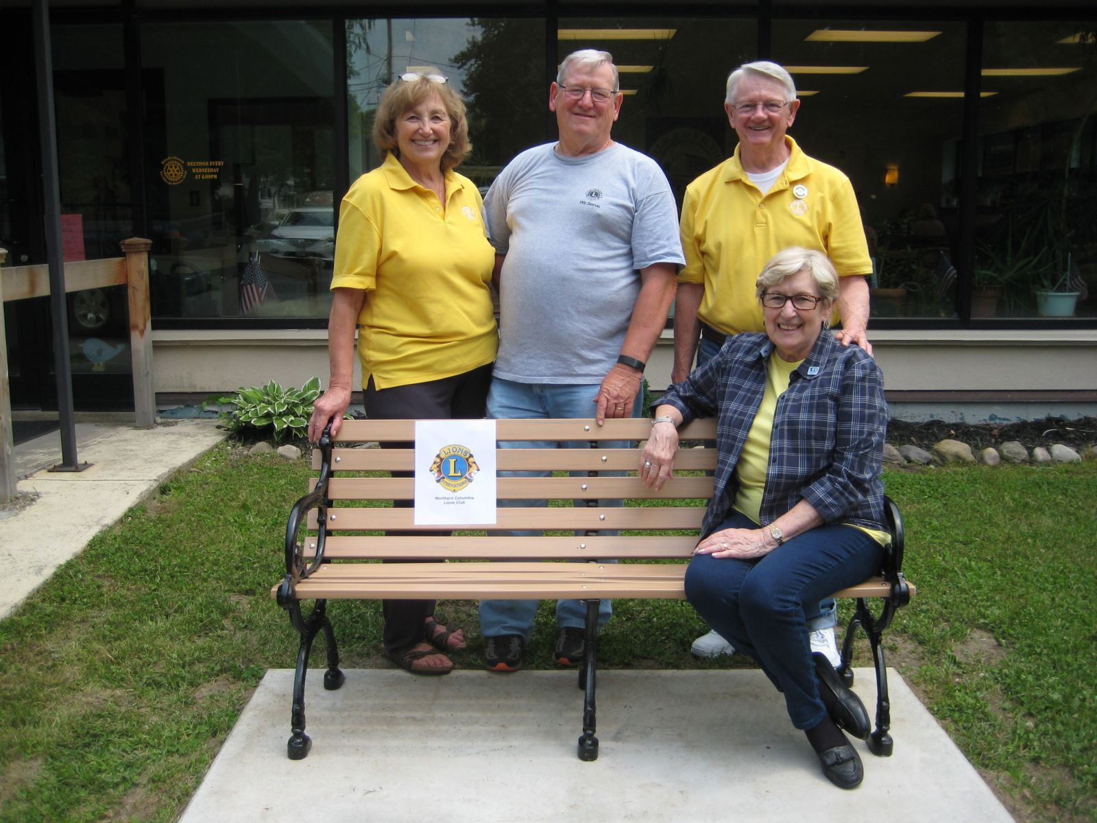 The Northern Columbia Lions Club donated this bench to the senior center in Valatie, commemorating 100 years of International Lionism.  Members of the committee pictured are Donna Francis, Chuck Albertson, Al and Mimi Johnson. Absent from the photo are Dot Hotaling and Tony Spensieri.