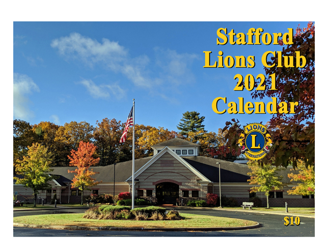 Stafford Lions Club 2021 front cover with the Stafford Library pictured
