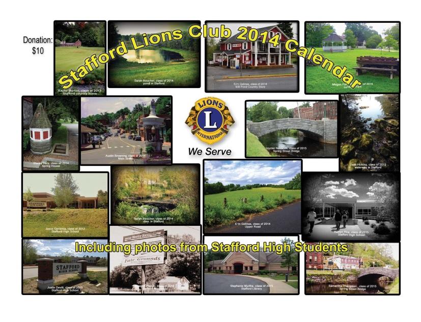 Stafford Lions Club 2014 Calendar Cover