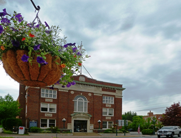 flower baskets in downtonw Stafford donated by the Stafford Lions Club