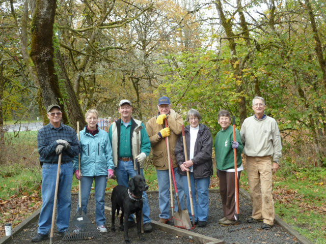 Members weeding Exercise Stations at McCormick Park
