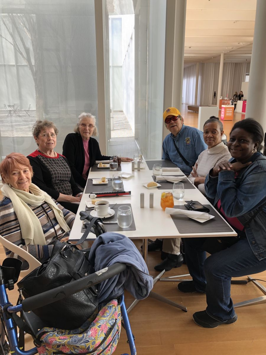 Group enjoying lunch at NC Museum of Art Cafeteria