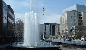The fountains in downtown White Plains