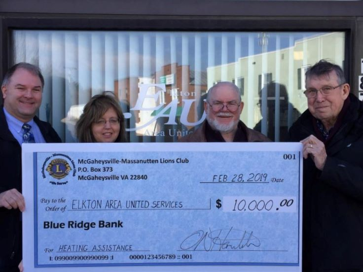 $10,000 Presented by the Lions of Massanutten Foundation to Elkton Area United Services for Heating Assistance to Local Families In Need
