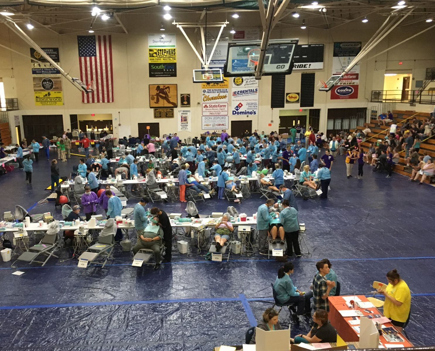 Dental Clinic Set up in the Mcminn County High School Gym