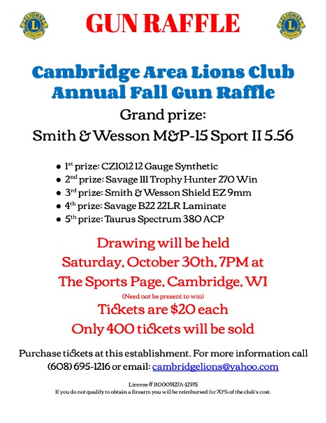 Gun Raffle poster red & blue lettering and info for 2021