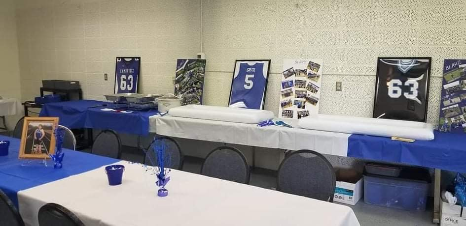 Graduation party at the clubhouse with blue & white decorations