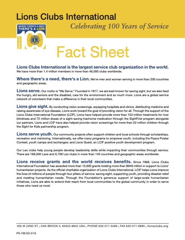 Lions Club Fact Sheet image