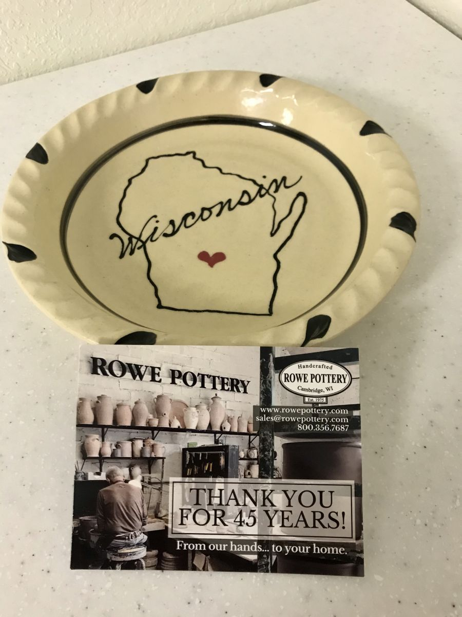 Rowe Pottery Works Wisconsin Display Plate