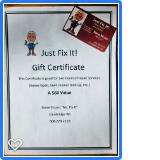 Gift Certificate for 2 hours of repair service (Home Repair, lawn mower tune-up, etc.) by Mr. Fix It (Steve Struss) at Just Fix It!