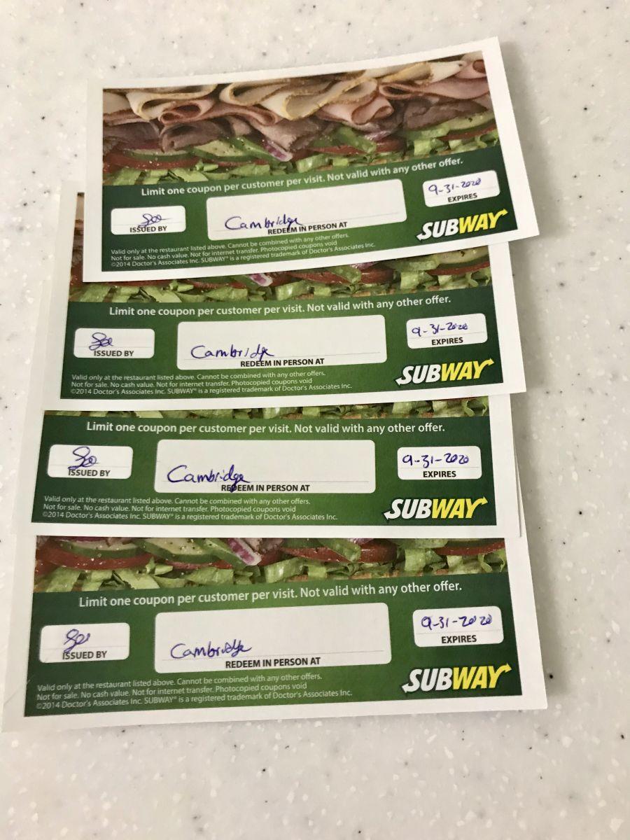 Subway sandwich gift certs