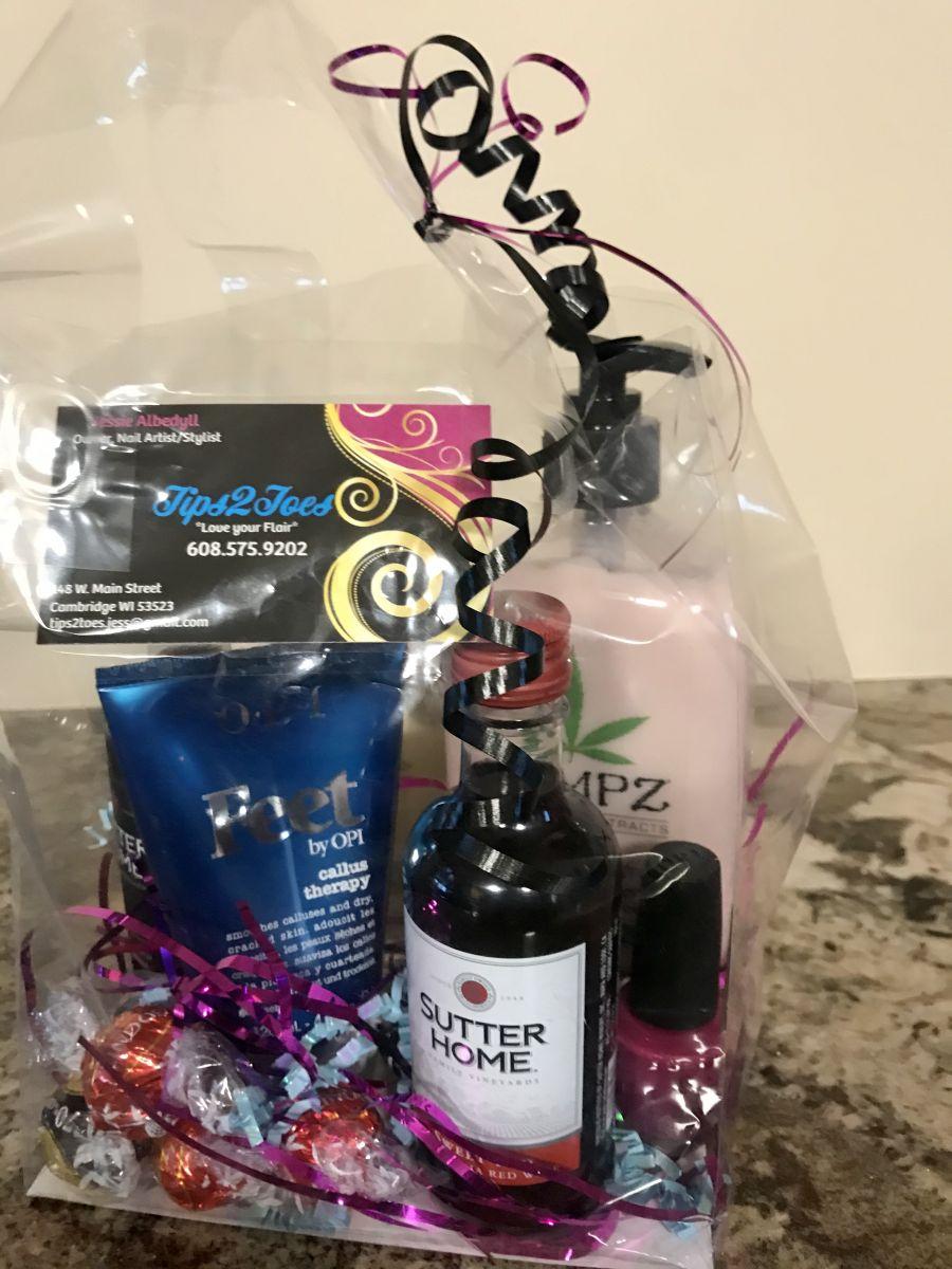 Pampering gift bag with Hemp cream, Opi nail polish & foot cream, wine and chocolates